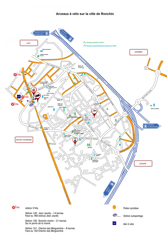 Plan d'implantation des arceaux à vélos